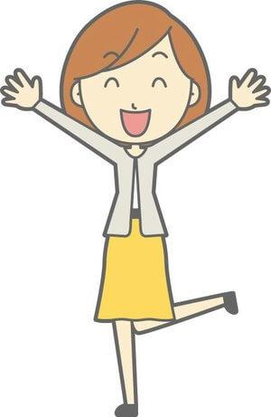 片足を上げてすごい喜んでいる兼業主婦のイラストです。
