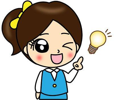 電球のマークと説明している女性